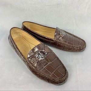 RALPH LAUREN croc leather loafers Sz 7.5